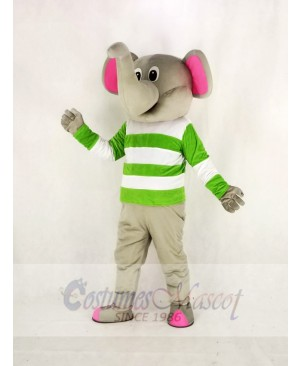 Gray Elephant with Green and White Cloth Mascot Costume Cartoon