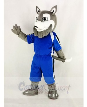 Power Gray Husky Dog with Blue T-shirt Mascot Costume Cartoon