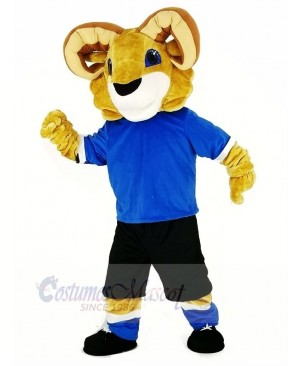 Sport Ram with Blue T-shirt Mascot Costume College