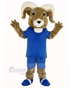 Sport Ram with Blue T-shirt Mascot Costume Adult