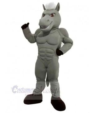 Power Horse Gray Body with White Hair Mascot Costume Cartoon