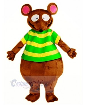 Brown Mouse with Green T-shirt Mascot Costume Animal