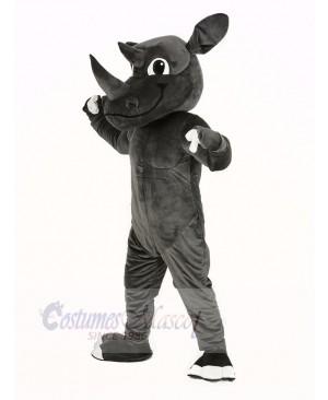 Muscle Gray Rhino Mascot Costume Animal