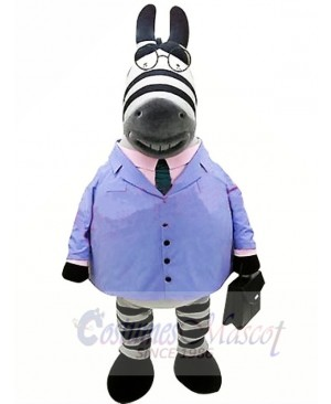 Business Zebra in Blue Suit