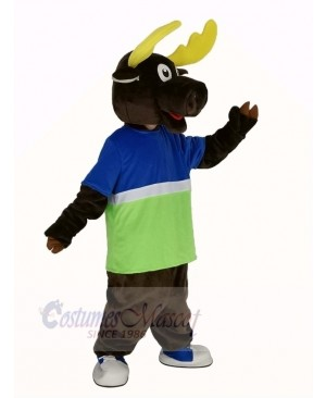 Brown Moose in Blue and Green T-shirt Mascot Costume