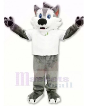 College Wolf with White T-shirt Mascot Costumes Cartoon