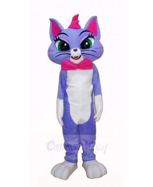 Blue Cat with Big Eyes Mascot Costumes Cartoon