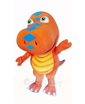 Orange Dinosaur with Big Eyes Mascot Costume Cartoon
