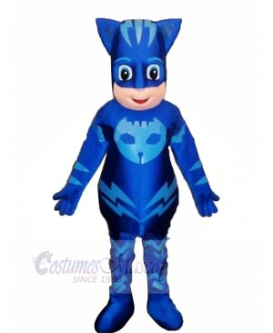 Heroe Boy with Blue Masks Mascot Costume Cartoon