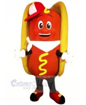 Happy Hot Dog Mascot Costume Cartoon