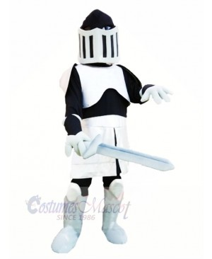 Cool Black and Silver Knight Mascot Costume People