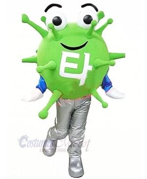 Green Virus Mascot Costume Cartoon