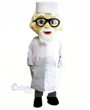 Old Doctor with Glasses Mascot Costume People