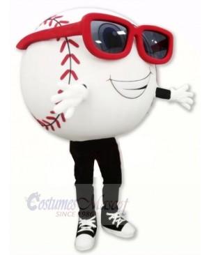 White Baseball with Glasses Mascot Costume Cartoon