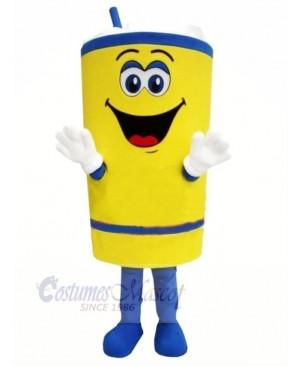 Happy Yellow Cup Mascot Costume Cartoon