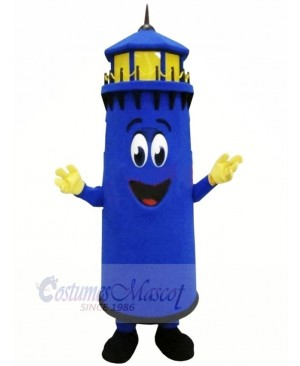 Funny Blue Lighthouse Mascot Costume Cartoon
