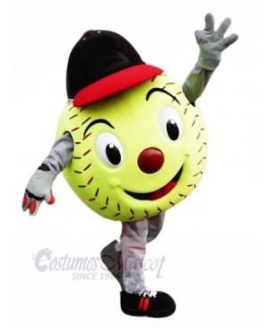 Green Softball Mascot Costume Cartoon