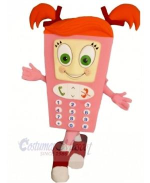 Pink Cell Phone Mascot Costume Cartoon