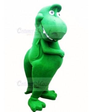 Cute Green Dinosaur T-Rex Mascot Costume Cartoon