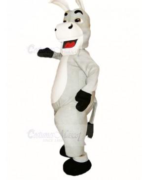 Cute Grey Donkey Mascot Costume Cartoon