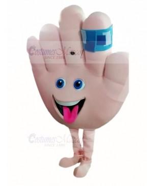 Cute Hand with Band Aid Mascot Costume Cartoon