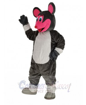 Smiling Mouse with Red Face Mascot Costume