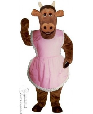 Heifer Cow with Apron Mascot Costume