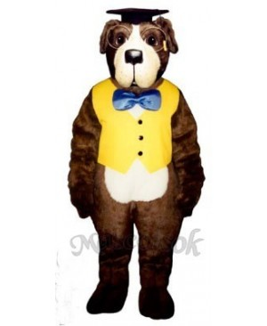 Cute Professor Bernard Dog with Hat, Vest & Glasses Mascot Costume
