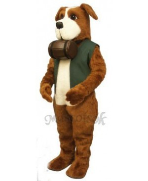 Cute Rescue Rover Dog with Barrel & Vest Mascot Costume