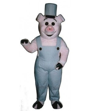 Worker Piglet Pig Hog with Overalls & Hat Mascot Costume