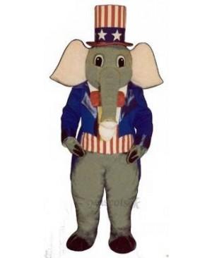 Cute Patriotic Elephant Mascot Costume