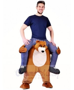 Piggy Back Bear Carry Me Ride on Brown Bear Mascot Costume Halloween