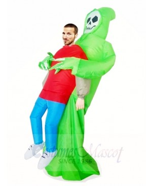Green Demon Skull Carry me Skeleton Inflatable Halloween Xmas Costumes for Adults