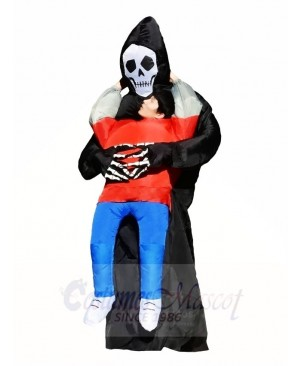 Skull Monster Carry Me on Black Demon Inflatable Halloween Costumes for Adult