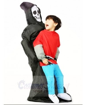 Skull Ghost Carry Me on Demon Inflatable Halloween Costumes for Kid
