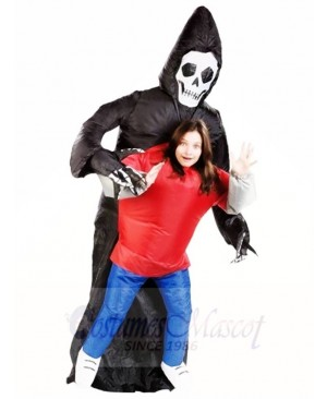 Grim Reaper Skull Skeleton Ghost Inflatable Halloween Costumes for Adults