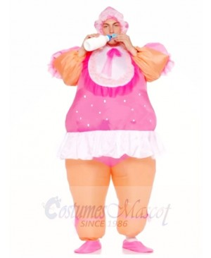 Adult Inflatable Costumes Pink Baby Doll Party Suits