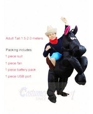 Cowboy Cowgirl Ride On Black Horse Inflatable Party Costumes for Adults