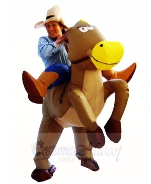 Cowboy Cowgirl Ride on Brown Horse Inflatable Halloween Xmas Costumes for Adult