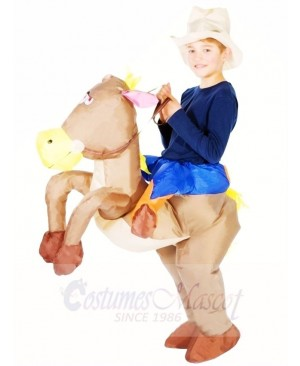 Cowboy Ride on Brown Horse Inflatable Halloween Xmas Costumes for Kids