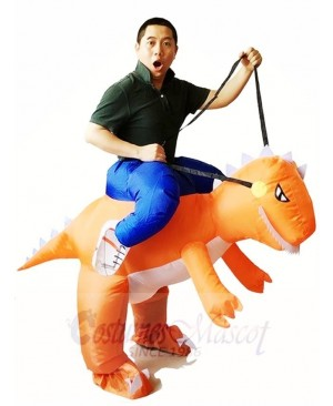 Orange Dinosaur Carry me Ride On T-rex Inflatable Halloween Christmas Costumes for Adults