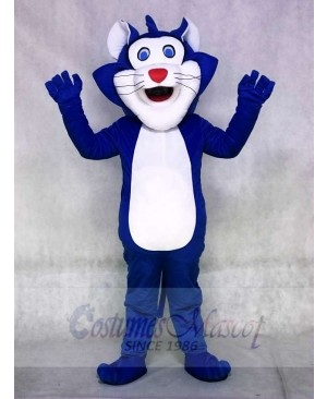 Blue Fat Cat Mascot Costume