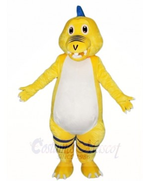 Yellow Dinosaur with Blue Spikes Mascot Costumes Animal