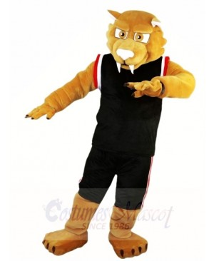 Black Sports Suit Muscle Cougar Mascot Costumes Animal