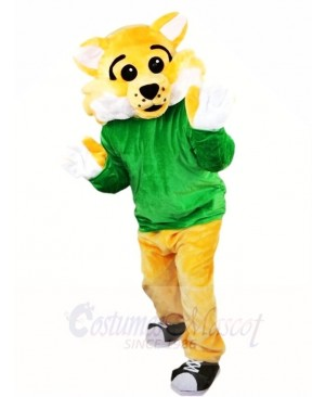 Yellow BobCat WildCat in Green Shirt Mascot Costumes Animal