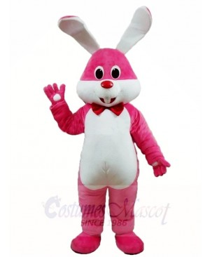 Pink Rabbit Easter Bunny with Bowknot Mascot Costumes Animal