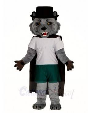 Grey Wolf with Black Cloak Mascot Costumes Animal