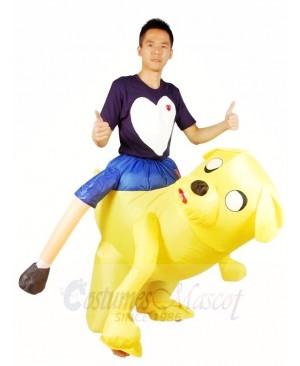 Ride on Jake the Yellow Dog Adventure Time Inflatable Halloween Xmas Costumes for Adults