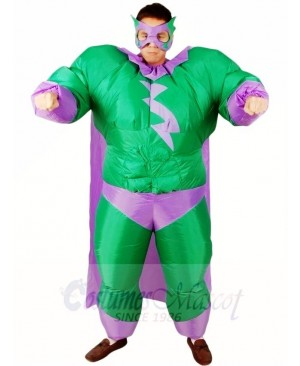 Fat Superman Green Superhero Inflatable Halloween Xmas Costumes for Adults