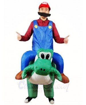 Super Mario Brother Ride on T-Rex Inflatable Halloween Xmas Costumes for Adults